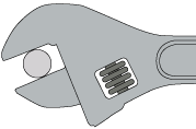 Use an adjustable wrench to gauge the diameter of the grip ring stem.