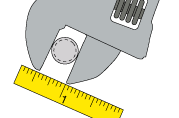 Use a ruler to measure the gap of the wrench to get the threaded stem diameter