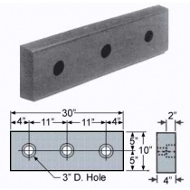 "RM-30 10"" x 30"" x 4"" Molded Rubber Bumper"